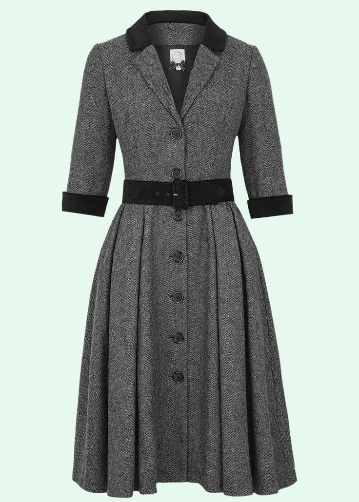 Gracy Q: Vintage style herringbone Judies Dress