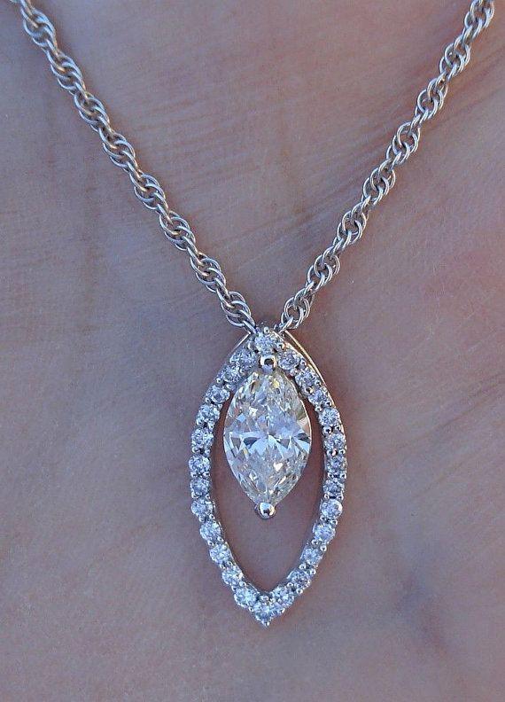 Unique .85 ct. Marquise Cut Diamond Pendant Necklace 14K White Gold $1399