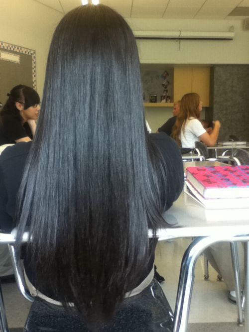 perfectly straight & amazing long black hair