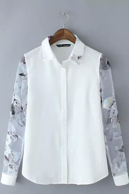 Long-sleeve white button up with sheer floral sleeves. The perfect Urban Sweetheart touch to your work style. #favorites