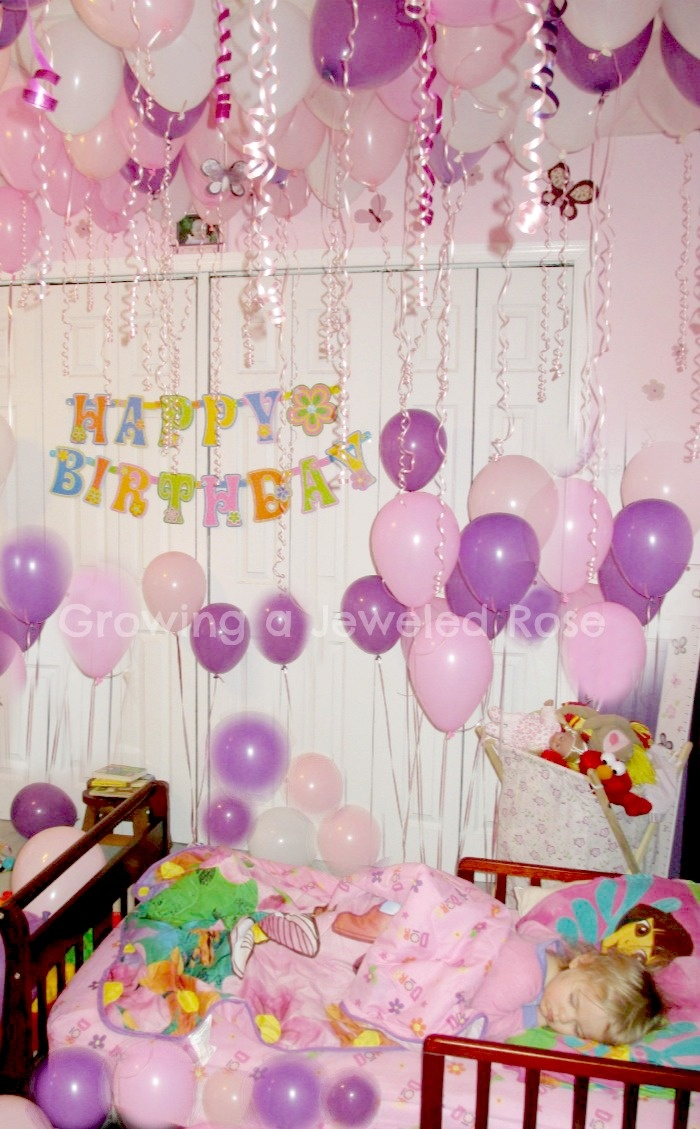 Fill your child 39 s room with balloons while they sleep for Room decoration ideas for 50th birthday
