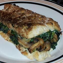 Spinach-Stuffed Flounder with Mushrooms and Feta-for 6 fillets, sauté minced garlic with the spinach (10 oz frozen) and mushrooms, add entire container of feta, season with salt/pepper/garlic powder, and substitute lemon juice for water