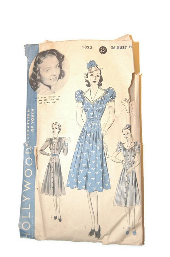 1939 Hollywood Pattern 1825 One Piece Frock by SewSymple on Etsy