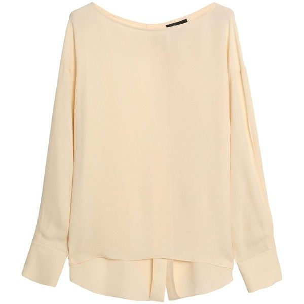 THEORY  Silk-twill blouse ($155) ❤ liked on Polyvore featuring tops, blouses, long sleeve blouse, long sleeve tops, beige top, beige blouse and theory tops