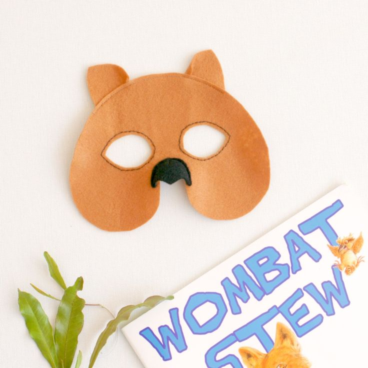 Wombat felt mask great for a book week costume for wombat stew or as an Australian kids costume for Halloween