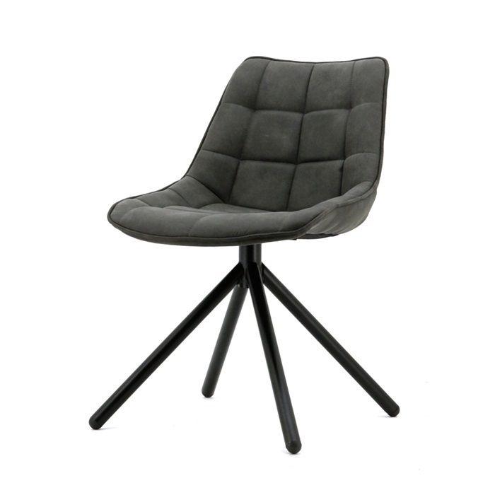 Hip kuipstoeltje met een industriële uitstraling! Mooi gecapitonneerde rug en zitting. Bekleed met oersterke en stoere cowboy-stof. De stoel heeft een zwart metalen spinpoot.