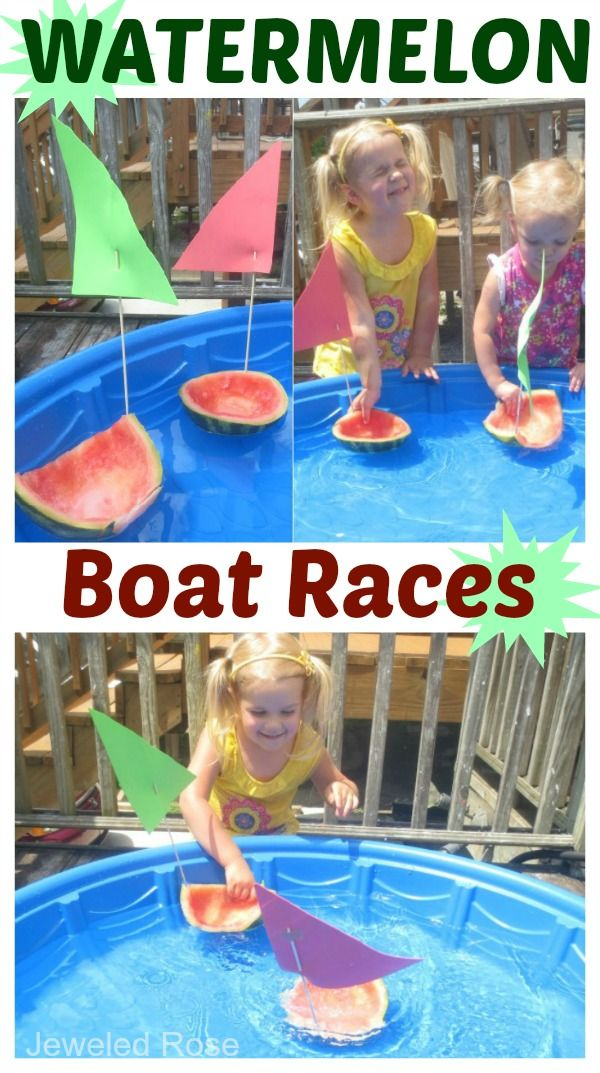 Here is a fun way to use that watermelon after eating - make watermelon boats and have boat races!  Watermelon boats are easy to make and SO FUN!  Great for cook outs, Summer fun days, family parties,and even bath time!