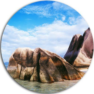 "DesignArt 'Massive Rocks in Seychelles Beach' Photographic Print on Metal Size: 11"" H x 11"" W x 1"" D"