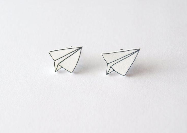 Paper Plane Stud Earrings (etsy)