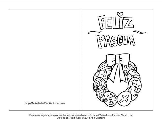 Tarjetas de pascua de resurrección para colorear: Tarjeta de corona de huevitos