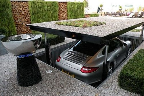 Hideaway car elevator for your driveway. Just need to win the lottery first.