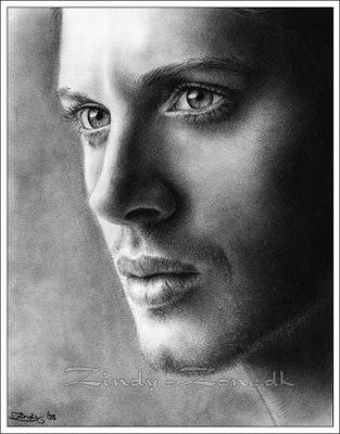Jensen Ackles--pencil drawing, this is freakin' beautiful. My hat's off to the artist