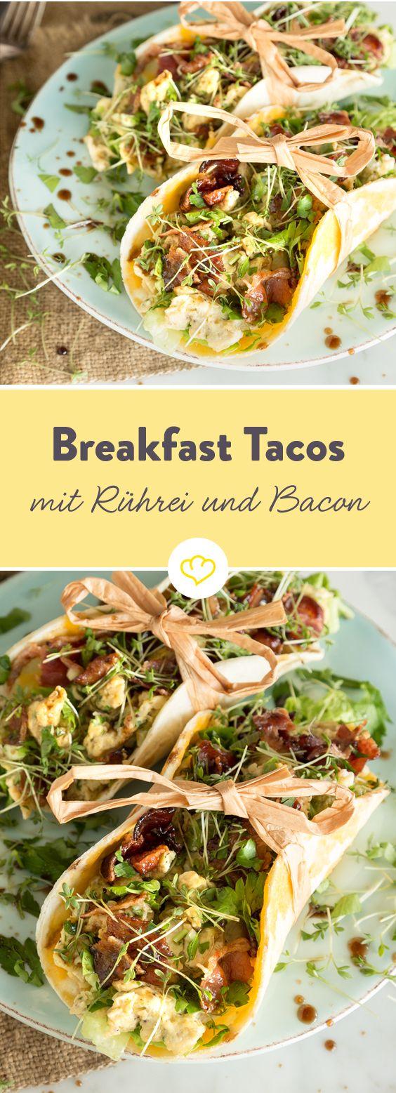 Morgens lieber herzhaft als süß? Was gibt es da besseres als ein gepflegtes, fluffiges Rührei mit krossem Bacon – cremig, würzig und knusprig zugleich. Eingeklappt in einer mexikanischen Tortilla wird das American Breakfast mit 'scrambled egg' zum morgendlichen Fingerfood-Genuss.