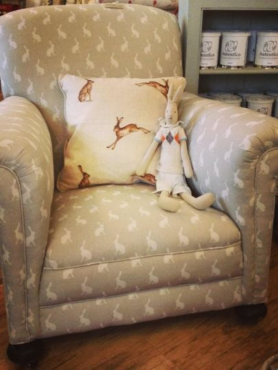 Cozy chair!     . . . love the rabbit theme; so sweet !