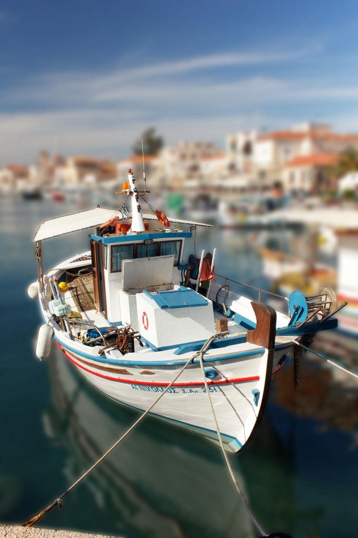 Fishing boat takes a break in Aigina Island, Greece