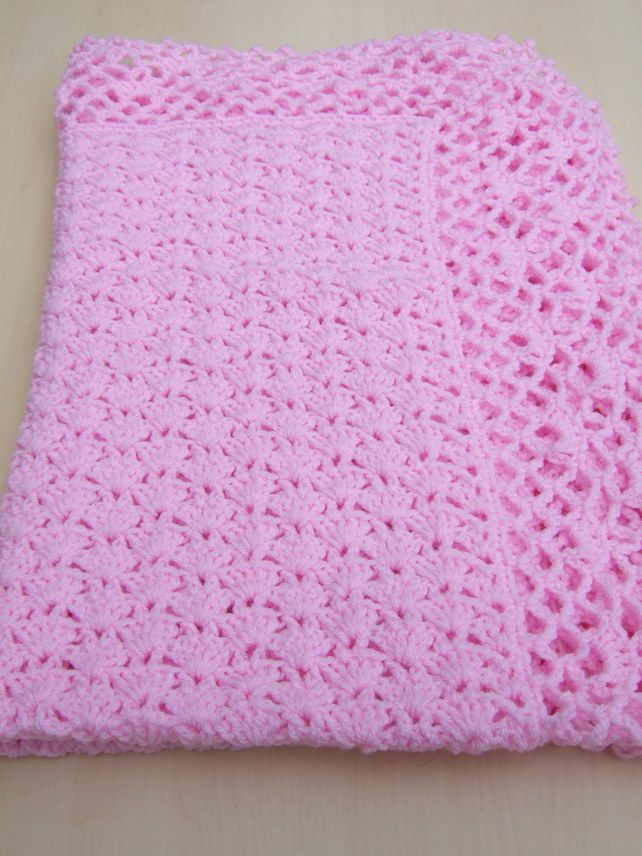 Hand crochet baby blanket or afghan in iced pink