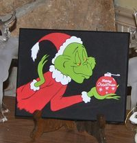Grinch Merry Christmas  Canvas  Painting  Decor by HopesArtGallery