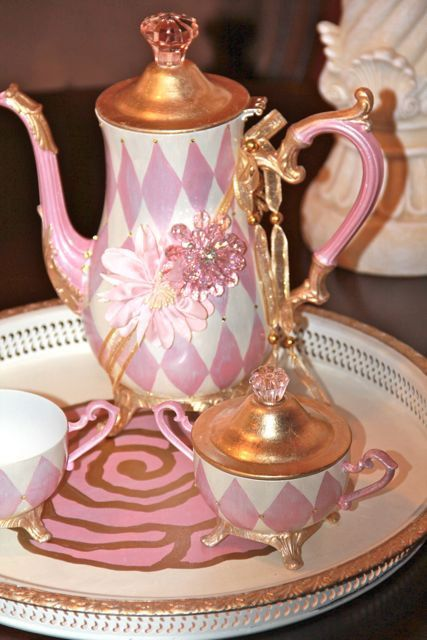 Pink Rose Painted Embellished Tea Set with by MediterraneaDesigns, $220.00