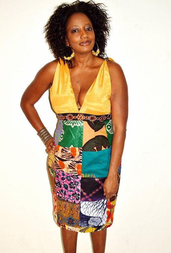 Beige Satin Top With Pencil Patchwork  Short Dress by ZabbaDesigns, $99.00