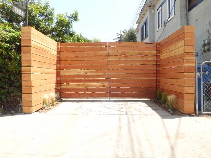 horizontal wood driveway gate