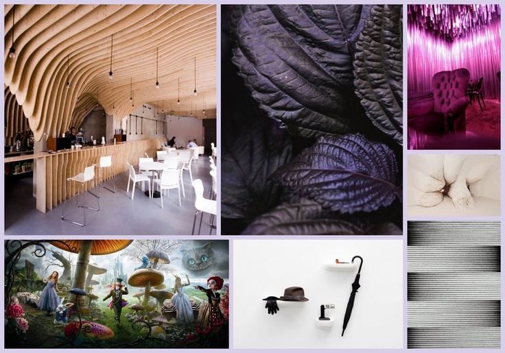Moodboard with interior inspirations for Murakami based concept