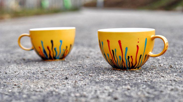 """Ceasca de cafea pictata - """"fire de culoare"""" #handmade #painted #mug #colorful #art #rainbow #colorfulife"""