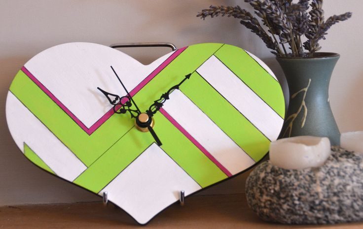 Scandinavian Spring Heart Wall Clock. 20cm. Spring trend, scandi style, white, lime green and fuchsia by ArtDecadance on Etsy
