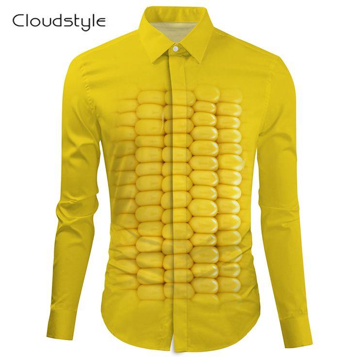 Cloudstyle2017male social shirt chinese shirt fashion corn men shirt long sleeve funny male shirt long sleeve turndown collar  #Affiliate