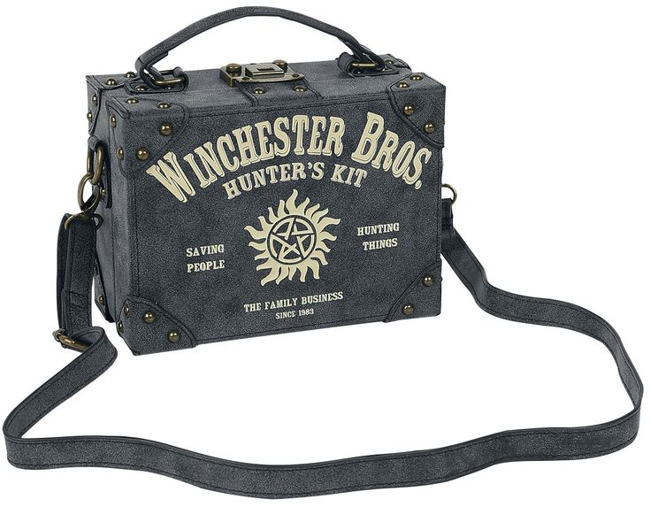 Supernatural - Hunters Kit  - Handbag in the form of a small suitcase - Dimensions: approx. 21.5 x 15.5 x 10.5 centimetres - Stable construction - Inner pocket with zip - Detachable, gradually adjustable shoulder strap (maximum length: 120 centimetres) - Gold-coloured decorative studs on the corners - Embossed anti-possession symbol