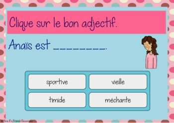 French adjective task cards BOOM CARDS LES ADJECTIFS - 20 digital task cards to help students learn the meaning of common adjectives. Click here to see more!