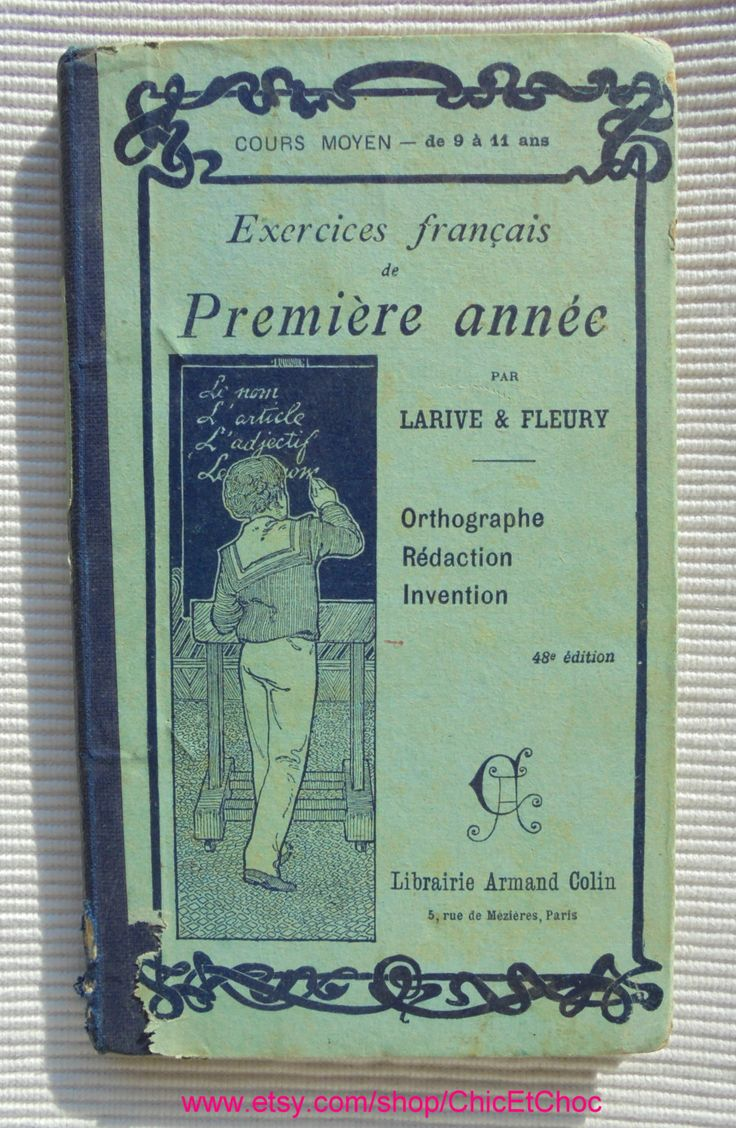 French Antique School Text Book of 1901 - French Grammar Exercises (First Year) by ChicEtChoc on Etsy
