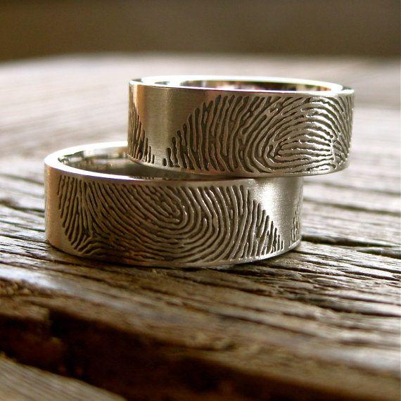 Палладия, обручальные кольца с двойной отпечатки пальцев с плоскими профилями матовый & рукописные гравировка Размеры 12.5/7мм 8.5/7мм