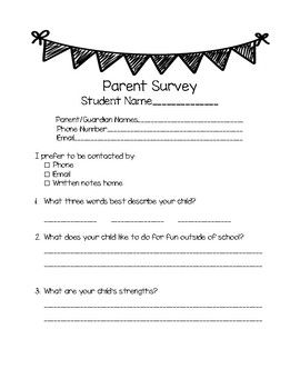 A simple survey for parents for the first week of school.