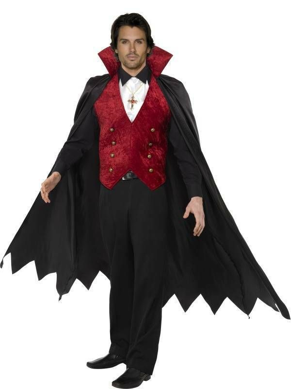 Mens Vampire Costume Count Dracula Fancy Dress Gothic Halloween Adult Outfit