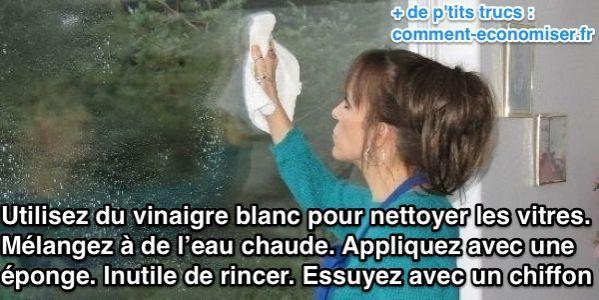 Utilisez du vinaigre blanc pour nettoyer les vitres