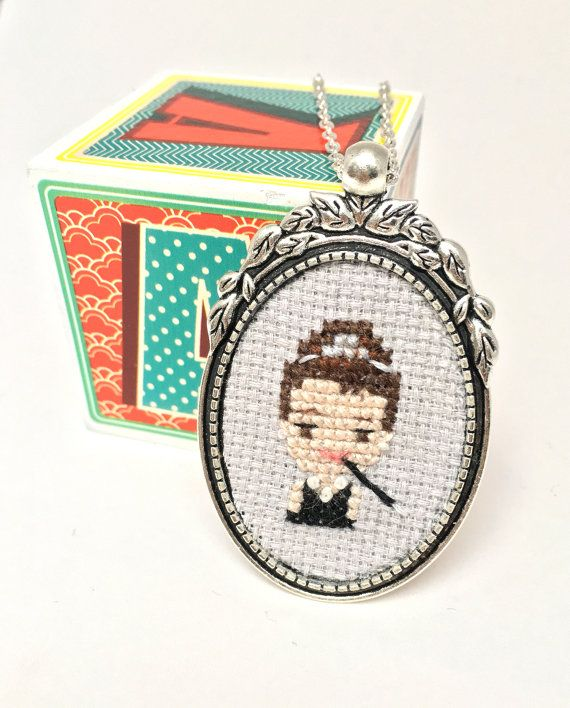 Audrey Hepburn necklace Cross stitch necklace by otterlydesign