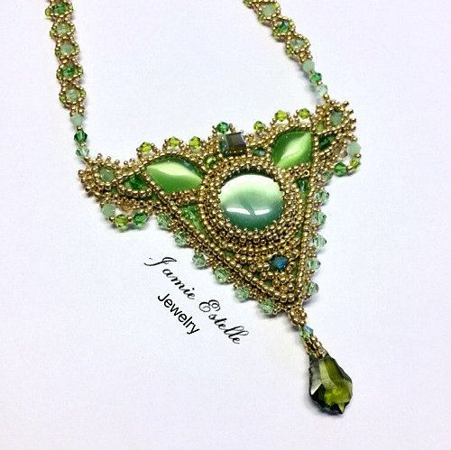 Leafy Green Cats Eye and Swarovski Crystal Beaded Necklace