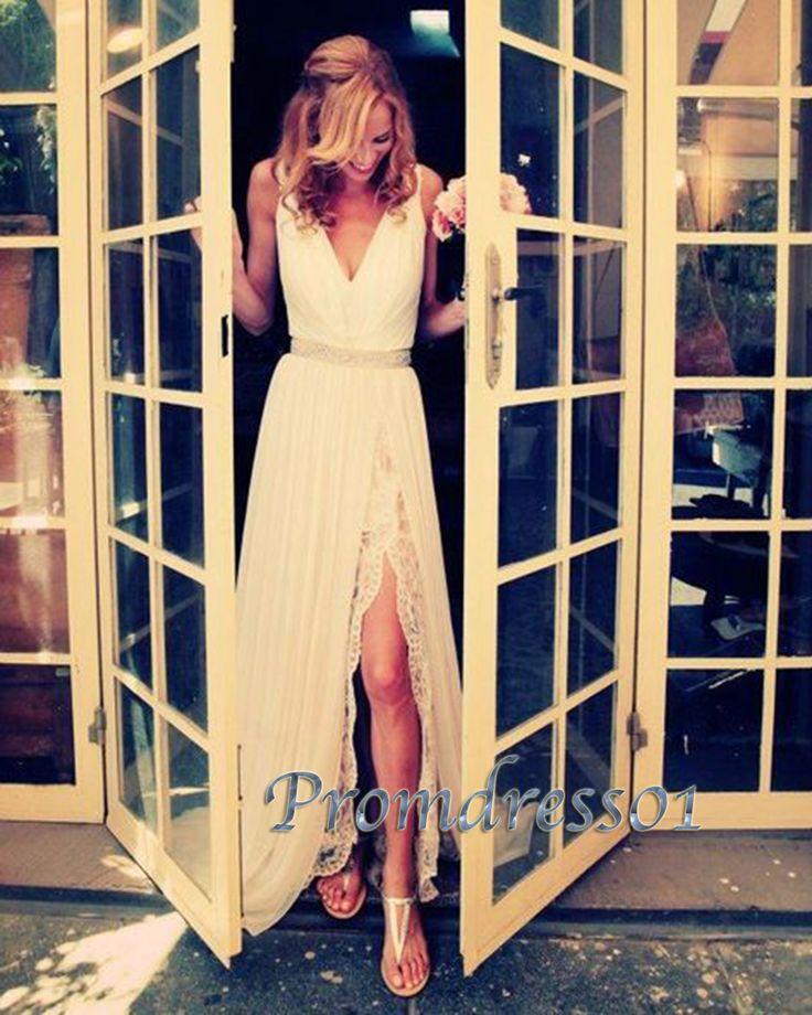 2016 elegant beaded V-neck chiffon prom dress with slit, fashion dress for teens, prom dresses long #coniefox #2016prom
