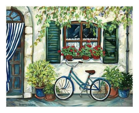 Country Cottage with Blue Bicycle Art Print
