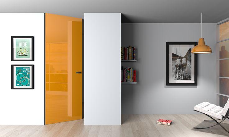 Drzwi ukryte z odwrotną przylgą w wysokim połysku / High glossy hidden doors with verte frame.