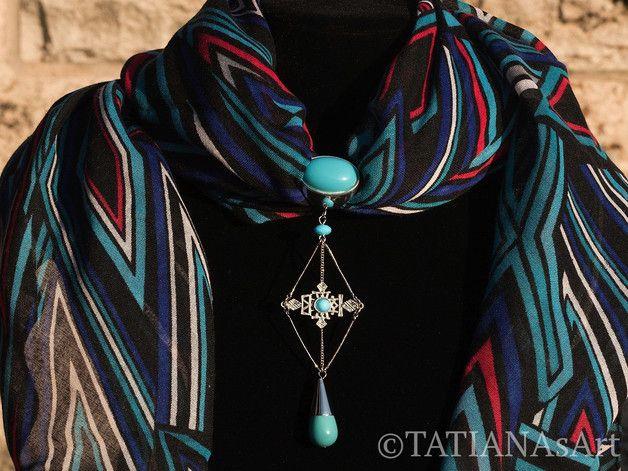 Weiteres - Schmuckanhänger für Schals oder Tuch in türkis - ein Designerstück von TATIANAsArt bei DaWanda.                                   #TATIANAsArt #Handgemachte Schmuck #Halsschmuck #Anhänger #Tuchanhänger