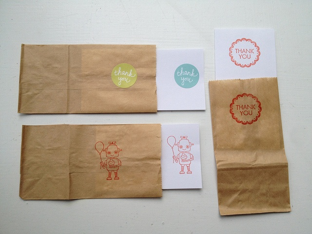 DIY small brown paper bag notecard sets