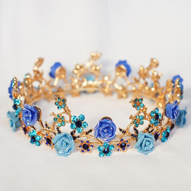 blue rose flower crown