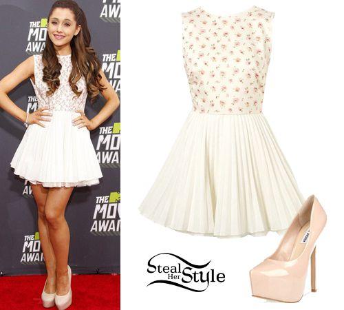 Ariana Grande White Dress Beige Pumps My Style Pinterest Ariana Grande Pump And Red Carpets