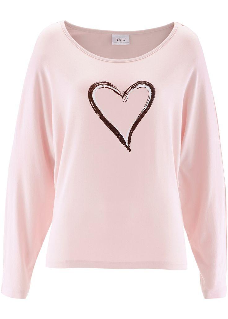 Футболка с длинными рукавами и принтом, bpc bonprix collection, розовый жемчуг с рисунком сердца