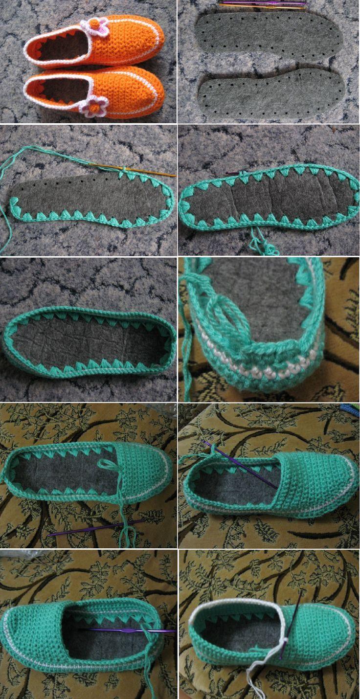 Sapatos de Crochê, como fazer   Inspiração, tutoriais e referências em Crochet  Shoes