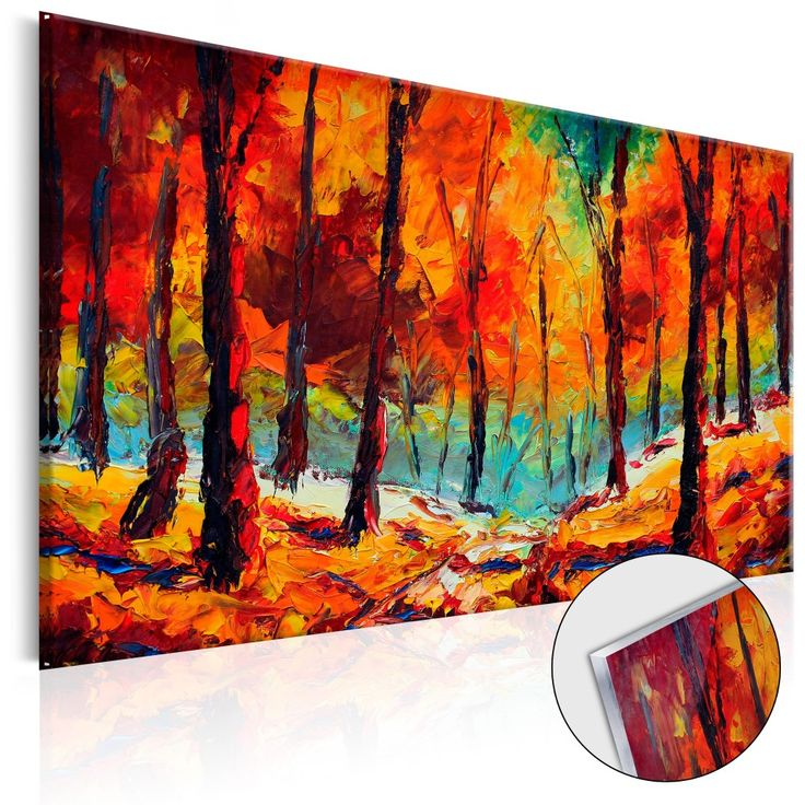 """Tableau sur verre acrylique aux couleurs éblouissantes - paysages """"Automne artistique"""" #tableau #tableausurverre #homedecor #décorations #décomurale #paysage #automne #bimago"""