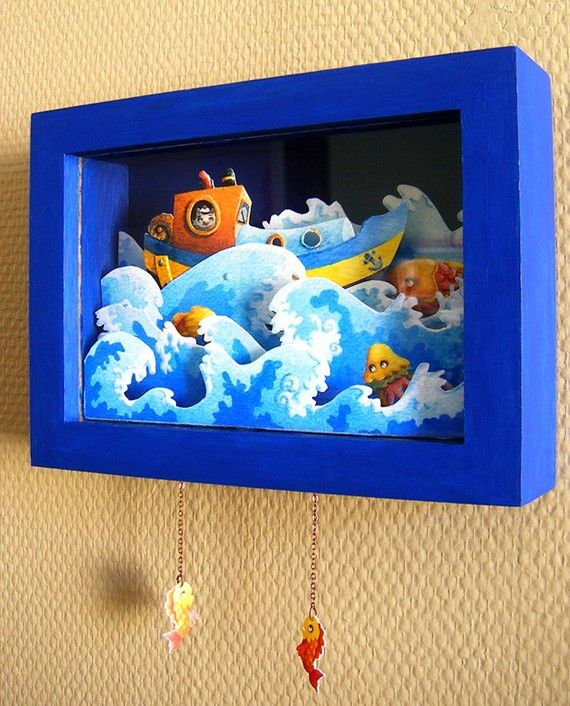 La Houle - An Animated Paper Shadow Box by Gouache Rocks     Must remember this style for future school projects with The Babes.