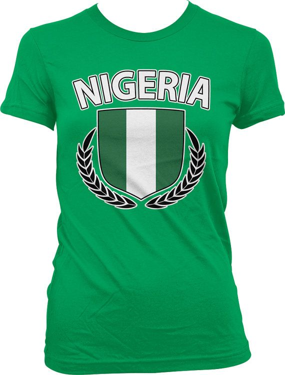 Nigeria Ladies T-shirt, Nigerian Flag Crest With Olive Branches, Nigeria Flag Shirt, Junior and Women's Nigerian T-shirts GH_00267