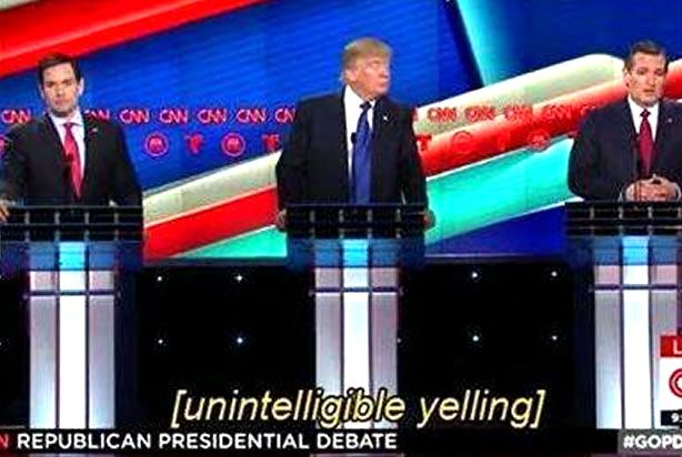 """Unintelligible yelling"": CNN's closed captioner is fed up with tonight's GOP debate and doesn't care who knows it"